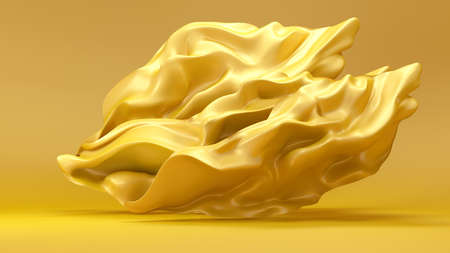 Yellow background with a gold cloth evolving.3d rendering, 3d illustration.