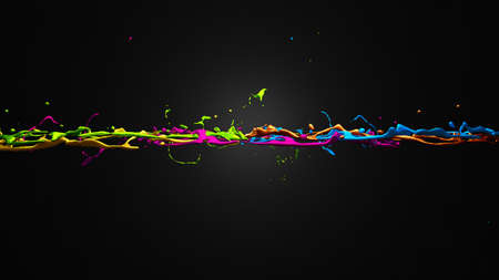 Colored spikes on a black background. 3d rendering, 3d illustration.