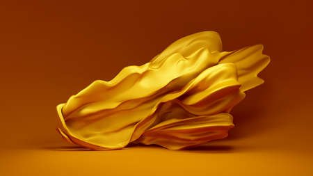Beautiful yellow background with a floating, developing fabric - silk, satin, sateen. 3d rendering, 3d illustration.