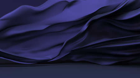 Stylish black background with blue silk developing . 3d rendering, 3d illustration. Banque d'images