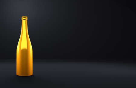 Celebratory bottle of alcohol on the black background of the room. 3d rendering, 3d illustration. Stockfoto