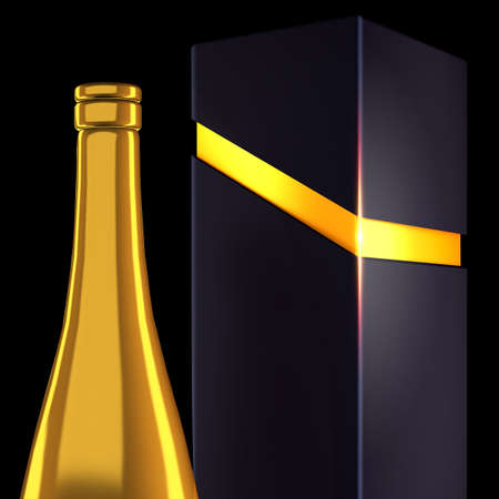 Insulated bottle and packaging for alcohol.3d rendering, 3d illustration.