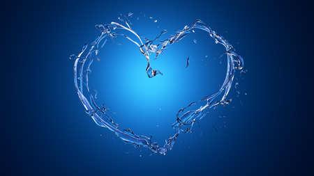 Blue heart from water splashes (liquid) on an azure background. Splash, water, drop. 3d rendering, 3d illustration.