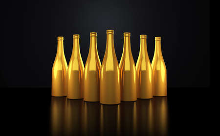 Luxury gold bottle of champagne in a black interior (room, floor, wall). 3d rendering, 3d illustration.