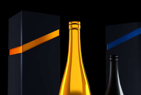 Luxury golden festive background with a bottle of champagne and elite black packaging.3d rendering, 3d illustration.