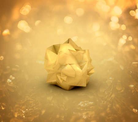 Golden Nugget on the background glare. 3d rendering, 3d illustration.