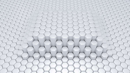 White hexagon background. 3d rendering, 3d illustration. Фото со стока