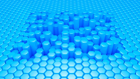 Blue hexagon background. 3d rendering, 3d illustration. Фото со стока