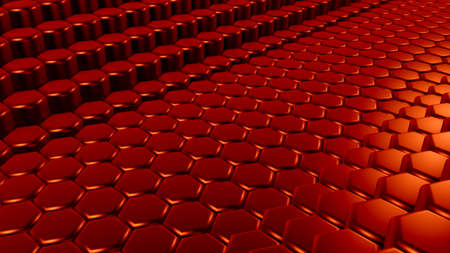 Red hexagon background. 3d rendering, 3d illustration. Фото со стока