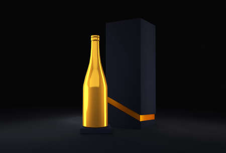 Luxury festive background with a bottle of champagne and elite black packaging.3d rendering, 3d illustration.