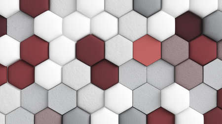 Red white abstract background with hexagons. 3d rendering, 3d illustration. Фото со стока