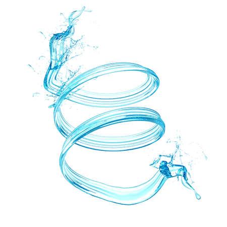 Water splash isolated white background. .  3d rendering, 3d illustration. Stock Photo