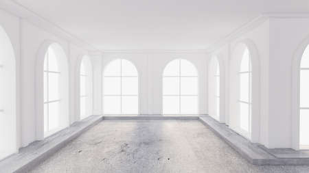 Light white empty interior with stone floor. 3d rendering, 3d illustration.