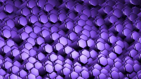 Purple hexagon background. 3d rendering, 3d illustration.