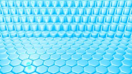 Blue hexagon background. 3d rendering, 3d illustration. Stock Photo