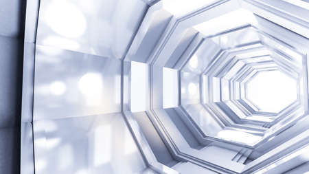 Fantastic futuristic space interior of the tunnel. 3d rendering, 3d illustration.