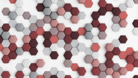 Red white abstract background with hexagons. 3d rendering, 3d illustration. Stock Photo