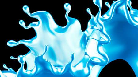 A splash of metal. 3d rendering, 3d illustration. Stock Photo
