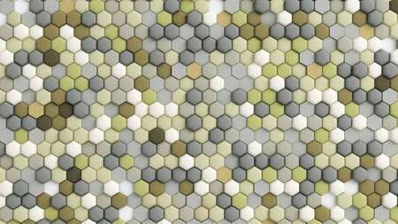 Yellow beige abstract background with hexagons. 3d rendering, 3d illustration.