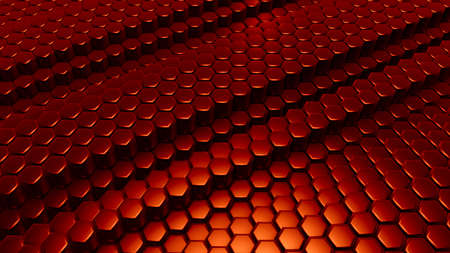 Red hexagon background. 3d rendering, 3d illustration. Stock Photo