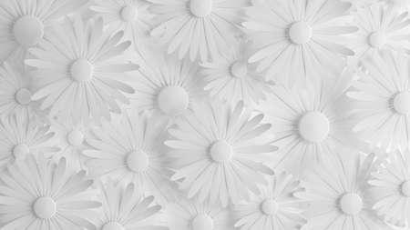 Paper flower on a white background. 3d rendering, 3d illustration.