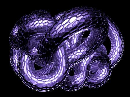 Black background of a snake. 3d rendering, 3d illustration.