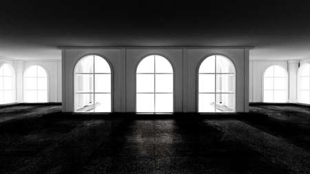 Gloomy empty interior with stone floor. 3d rendering, 3d illustration. Stock fotó