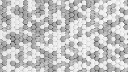 White abstract background with hexagons. 3d rendering, 3d illustration.