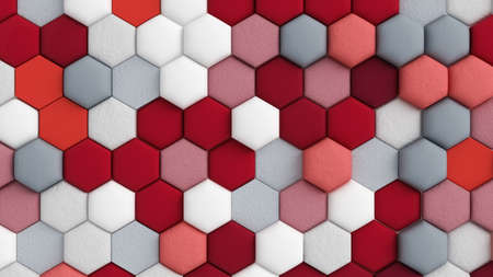 Red white abstract background with hexagons. 3d rendering, 3d illustration. Stock fotó