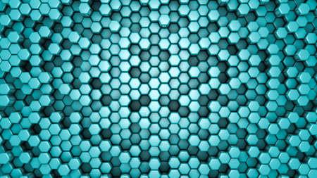Turquoise hexagon background. 3d rendering, 3d illustration.