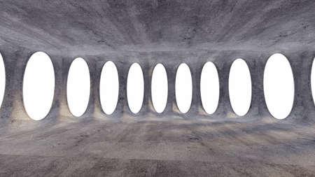 Industrial futuristic grunge interior. 3d rendering, 3d illustration.