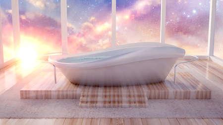 Interior bathroom. 3d rendering 3d illustration