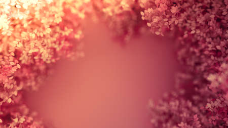 Beautiful pink background with leaves, season of the year. 3d rendering, 3d illustration.