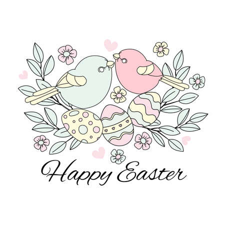 EASTER BIRDS Great Religious Holy Holiday Cartoon Vector Illustration Set for Print, Fabric and Decoration. Ilustração