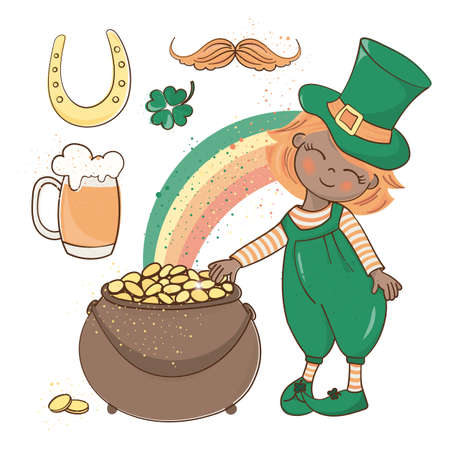 PATRICK GOLD Saint Patrick Day Cartoon Vector Illustration Set for Print, Fabric and Decoration. 일러스트