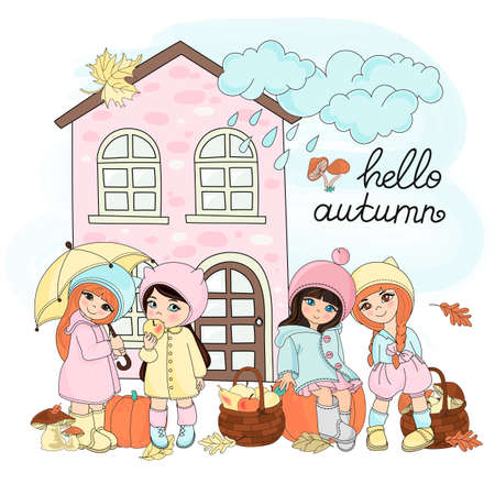 AUTUMN GIFTS Children Fall Season Weather Cartoon Vector Illustration Set for Print, Fabric and Design.