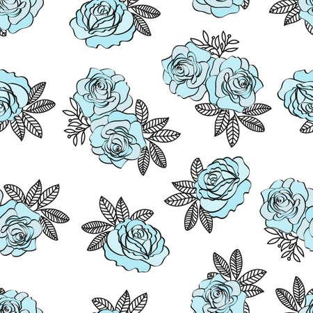 BLEU ROSE MOTIF Fleur de mariage Seamless Pattern Vector Illustration pour l'impression, le tissu et le papier numérique.