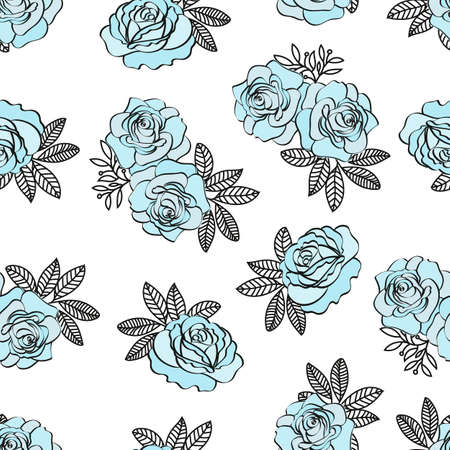 BLUE ROSE PATTERN Wedding Flower Seamless Pattern Vector Illustration for Print, Fabric and Digital Paper.