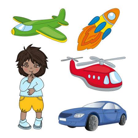 BOY DREAMS Children Game Cartoon Vector Illustration Set for Print, Fabric and Design. Фото со стока - 117953968