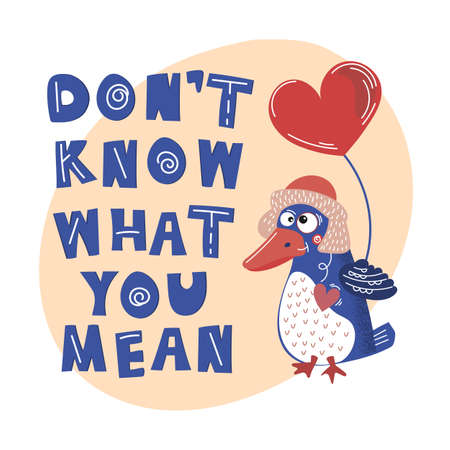 CRAZY BIRD Valentine Day Party Cartoon Animal Vector Illustration Set for Print, Fabric and Decoration.