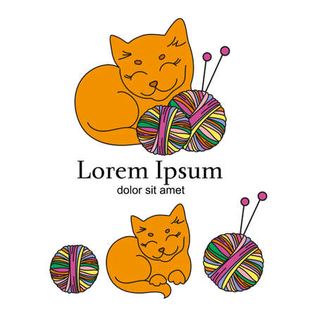CAT KNITTER Cartoon Animal Vector Illustration Logo Set for Business, Print, Fabric and Decoration.