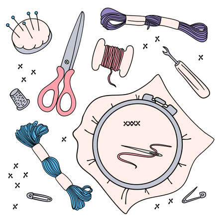 EMBROIDERY WORK Needlewoman Accessories Cartoon Vector Illustration Design Set for Print, Fabric and Decoration.