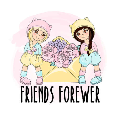FRIENDS FOREVER Holiday Cartoon Vector Illustration Set for Print, Design and Decoration. Vectores