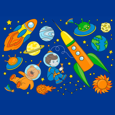 SPACESHIP Galaxy Cartoon Vector Illustration Set for Print, Fabric and Decoration.