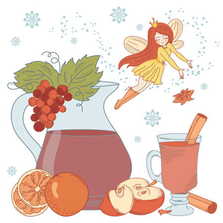 MULLED WINE FAIRY Merry Christmas and New Year Dessert Vector Illustration Set for Print, Fabric and Decoration.