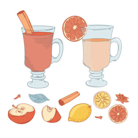 MULLED WINE SET Dessert Merry Christmas and New Year Vector Illustration Set for Print, Decoration, Fabric and Holiday. Çizim