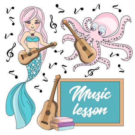 MUSIC LESSON Mermaid Underwater School Cartoon Vector Illustration Set for Print, Fabric and Decoration.