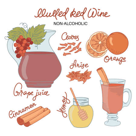 NON ALCO MULLED WINE Merry Christmas and New Year Recipe Dessert Vector Illustration Set for Print, Fabric and Decoration.