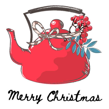 TEAPOT Merry Christmas and New Year Cartoon Vector Illustration Set for Print, Fabric and Decoration.