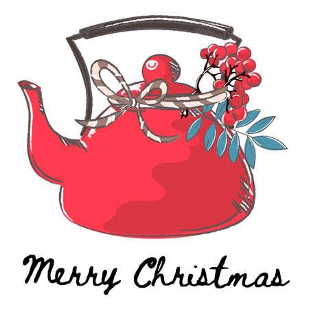 Théière Joyeux Noël et Nouvel An Cartoon Vector Illustration Set pour l'impression, le tissu et la décoration.